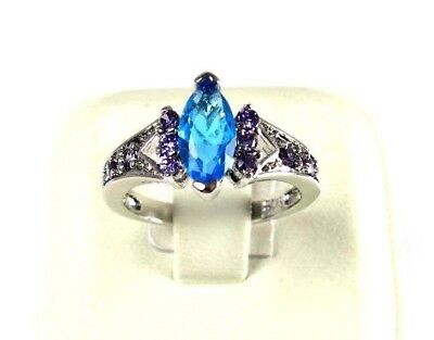 R#7072 simulated Sea Blue Topaz & Amethyst gemstone ladies silver ring size 7