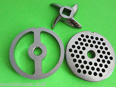 #8 COMBO SET 2 grinding plates & New cutting knife for meat grinder or mincer
