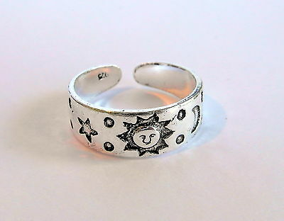 Sterling Silver (925) Adjustable  Sun,Moon Stars  Toe Ring  !!     Brand New !!