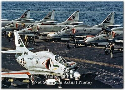 1972 Douglas A-4 A-4F Skyhawk CVW-21 on USS Hancock CVA-19 Flight Deck 5x7 Photo