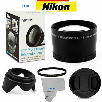 PRO 2X ZOOM Telephoto Lens UV FILTER+LENS HOOD +LENS CAP for Nikon D5100 D5000