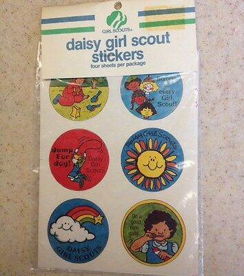 vintage DAISY GIRL SCOUT scrapbooking 4 SHEETS 24 STICKERS 1980'S unopened RARE!