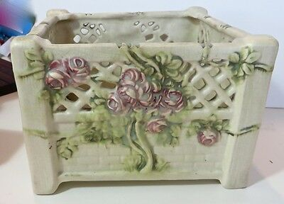Vintage Weller Roma rose Decorated jardiniere/Planter by Rudolph lorber