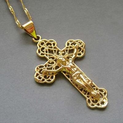 18K Yellow Gold Filled Jesus Cross Pendant Chain  Link Hollow carved Necklace