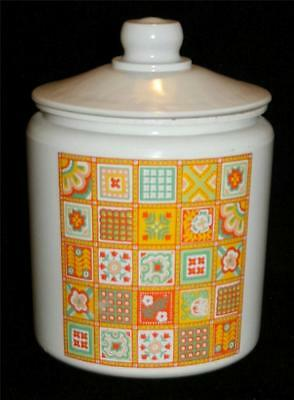 Vtg Glass Cookie Jar White Yellow Granny Quilt Painted Quilted Pattern
