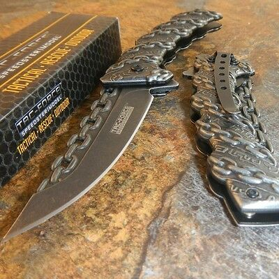 TAC-FORCE STONE WASHED Spring Assisted Open CHAINS Folding Pocket Knife