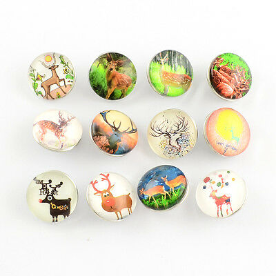 12pcs Mixed Color Brass Glass Dome Buttons Flat Round Sika Deer DIY Snap Buttons
