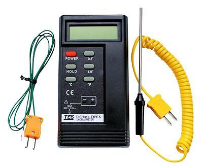K Type TES 1310 Digital Thermocouple Thermometer, 2 x probes, 1300°C, BGA, HVAC