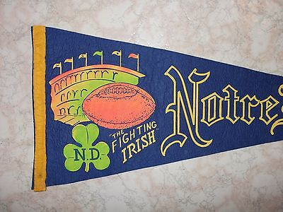 NOTRE DAME FIGHTING IRISH  1950's or 1960's Football Pennant  NCAA