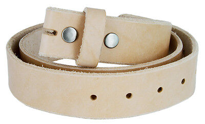 *Handcrafted, Custom Made in USA*  Natural Cowhide Leather One Piece Belt Strap