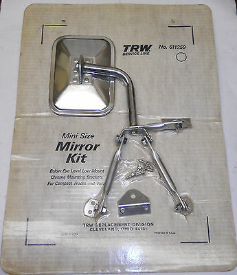 NOS 2 VINTAGE CLASSIC MINI 3-POINT MOUNT COMPACT TRUCK & VAN MIRRORS:MADE IN USA