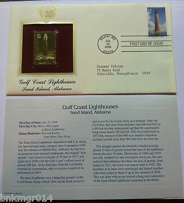 2009 Gulf Coast Lighthouse Sand Island First Day Of Issue Golden Replica Stamps