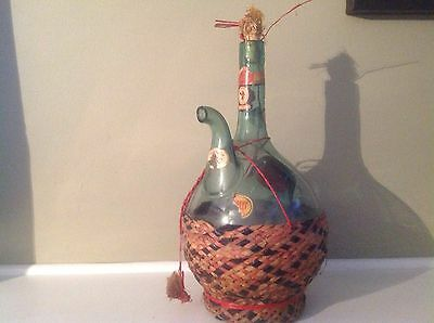 Vintage 1953 Chianti Green Glass With Woven Basket Holder