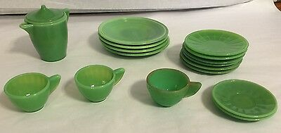 Akro agate Pieces - 17 In Total- Cups, Saucers, Pitcher Plates Green Miniatures