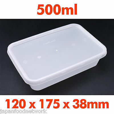 100pcs Disposable Rectangular Plastic Container TakeAway 500ml Body&Lid  #55886