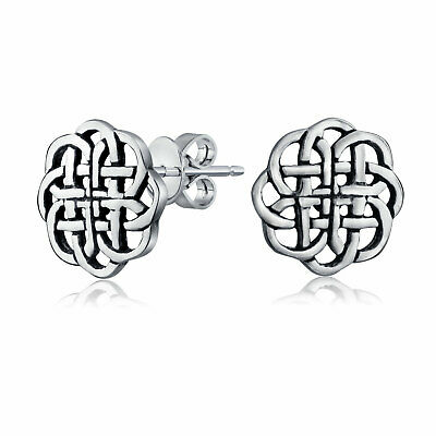 Round Celtic Knot Shield Stud earrings 925 Sterling Silver 9mm
