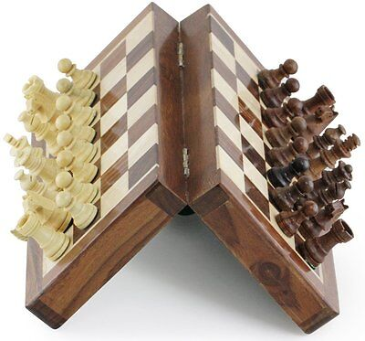 """SouvNear 7"""" Wooden Travel Chess Set Magnetic Staunton Pieces Folding Game Board"""