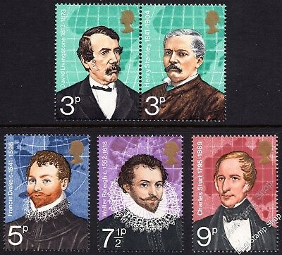 GB 1973 British Explorers SG923-927 Complete Set Unmounted Mint