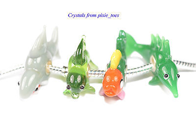Fish! Handmade Murano Glass Lampwork Fish Charm Bead, Big Hole European Style