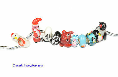 Christmas Halloween Penguin Charm Beads Handmade Murano, Big Hole European Style