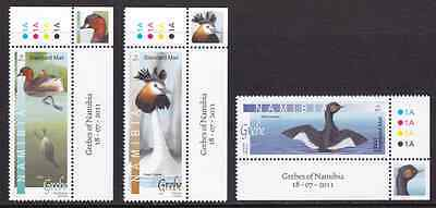 NAMIBIA - 2011 - Grebes of Namibia. Complete Set, 3v. Mint NH