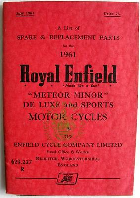 ROYAL ENFIELD Meteor Minor - Motorcycle Parts List - Jul 1961 -#782/2M.761