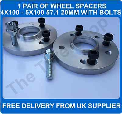 Car 4x100 To VW Audi Wheel 5x100 20mm Hubcentric Spacers+Bolts PCD  Adaptors