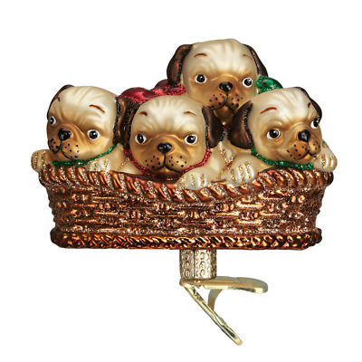 """""""Pile of Puggles"""" (12434) Old World Christmas Glass Ornament"""