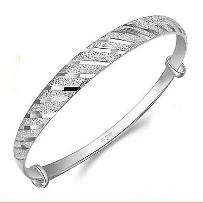 Unique Ladies 18K White Gold Plated Adjustable Bangle Bracelet Jewelry H1058