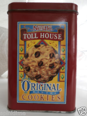 Vintage Red NESTLE TOLL HOUSE MORSELS Chocolate Chip Cookie Collectible TIN