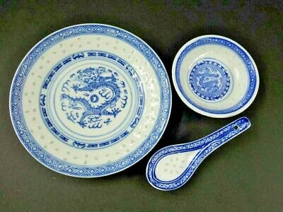 Blue and White Plate spoon Dragon oriental porcelain chinese tranditional bowl