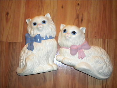 SET OF 2 HOME INTERIORS CAT WALL PLAQUES OR WALL HANGINGS /VINTAGE WALL DECOR