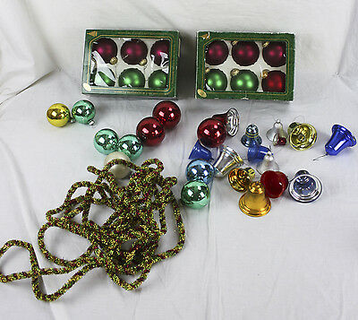 Lot of Glass Christmas Tree Ornaments Bulbs & Plastic Metal Bells String Garland