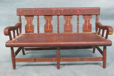 Antique Miniature Painted Plank Seat Settee Early 20th Century Nice!