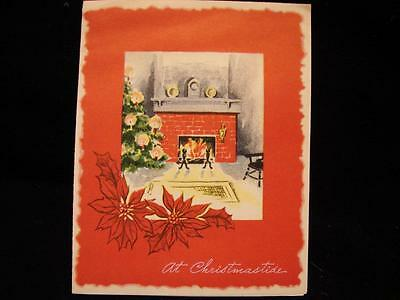 """VINTAGE """"THE WARMTH OF THE FIREPLACE!!"""" CHRISTMAS GREETING CARD"""