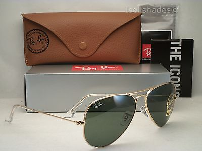 ray ban green gold aviators  Ray Ban RB 3025 Aviator Classic L0205 Gold Frame/Green Classic G ...