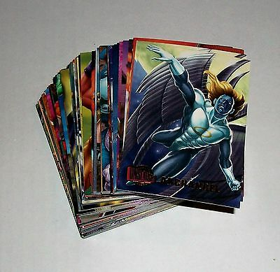 1996 MARVEL ULTRA ONSLAUGHT - COMPLETE SET OF 100 BASE CARDS.