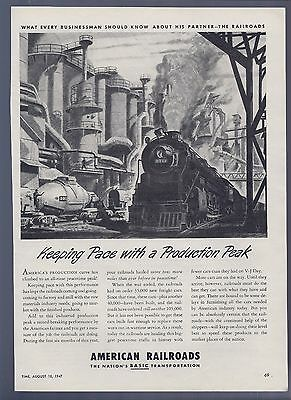 Vintage Ad -American Railroads, The Nations Basic Transportation - August 1947