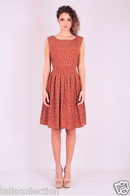 Migle + Me Leaf Print Dress in Red Brown 1960s Style w/Wide Waistband MM-0704