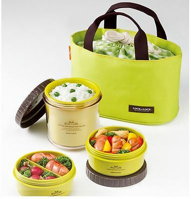 [ Lock&Lock] New Food Storage Container Round Small Lunch Box with bag Green