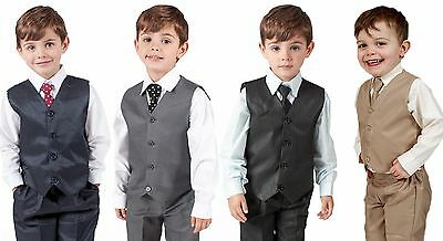 Boys Suits 4 Piece Waistcoat Suit Wedding Page Boy Baby Formal Party 4 Colours