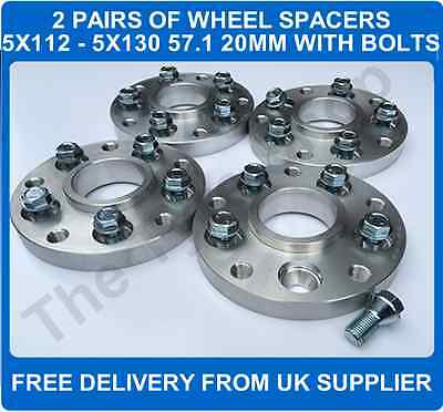 VAG 5x112 To Wheel 5x130 Hubcentric Spacers 20mm 2 PAIRS + Bolts 57.1 Adaptors