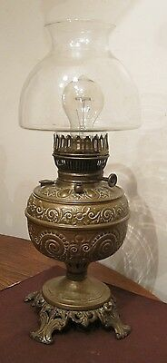 antique orante brass glass electrified electric oil turn parlor table lamp light