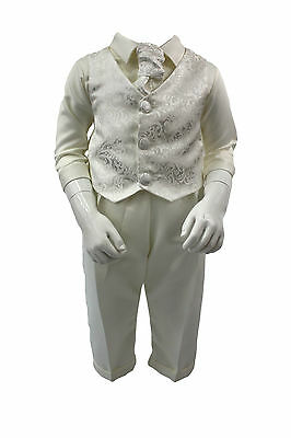 Baby Boys 4 Piece Christening Outfit / Christening Suit Ivory Paisley