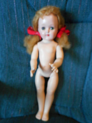 Vintage Ideal P-91 Toni doll with GREEN eyes, needs hair TLC