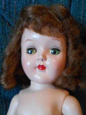 Vintage Ideal P-91 Toni doll with GREEN eyes and auburn hair
