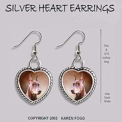 DOBERMAN PINSCHER DOG Red Crop Ears Dobie - HEART EARRINGS Ornate Tibetan Silver