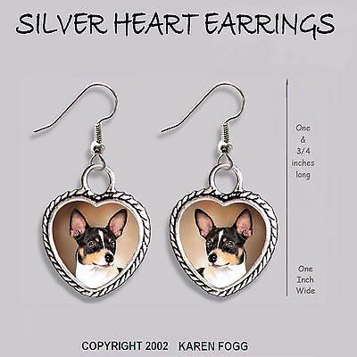 RAT TERRIER DOG - HEART EARRINGS Ornate Tibetan Silver