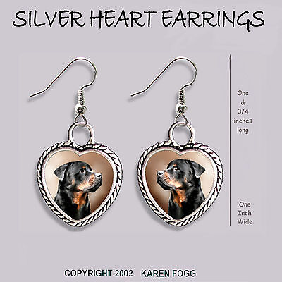 ROTTWEILER DOG - HEART EARRINGS Ornate Tibetan Silver