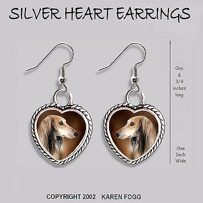 SALUKI DOG - HEART EARRINGS Ornate Tibetan Silver